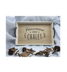 """Plateau bois et anses métal """"Noël au chalet"""""""