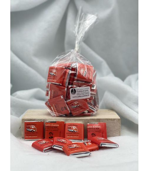 le ballotin de napolitains 5 grammes noir 70% cacao avec éclats feve de cacao